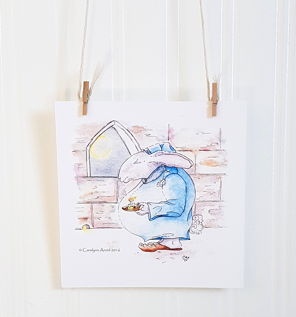 Bedtime for Bunny Nursery Wall Art Illustratipn Product