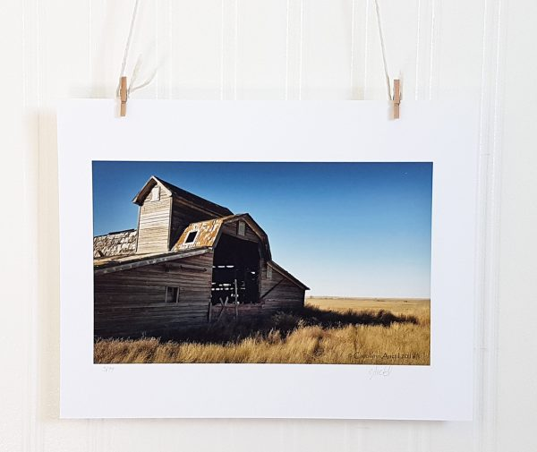 Broken Barn photograph hangs suspended by 2 miniature clothespins against a white background. An abandoned barn sits to the left of the frame on a flat prairie landscape and brilliant blue sky.