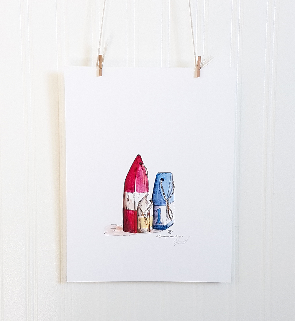 Buoys Watercolour Illustration Art Product