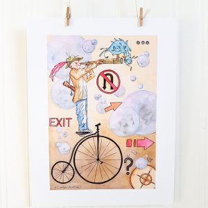 Coddiwomple watercolour illustration hangs suspended by 2 miniature clothespins against a white background. A young boy wearing a green hat with a pink feather stands on the seat of an antique bicycle . He'has a scroll slung over his left shoulder and and is facing right, looking through a telescope. A blue bird is standing on top of the telescope and peering into the other end of it. Bubbles and directional signs, arrows and a compass fill the background.