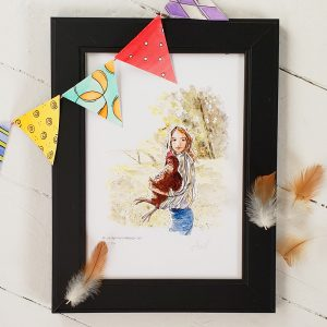 Framed print with colourful bunting across upper left and chicken feathers.