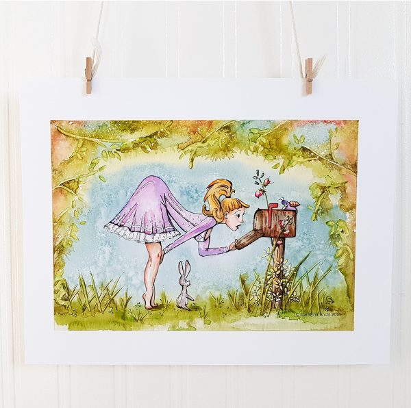 Delivery Day watercolour illustration is suspended by 2 miniature clothespins against a white background. A young woman with blond hair bends over to peer into a rusty mailbox that she holds open with her left hand. Her right hand is on her knee. she is up on her tippy toes and faces right. A cartoon bunny stands up on its hind legs at her feet and a snail sits atop the mailbox. The background is a setting of overgrown trees and wildflowers against a blue sky.