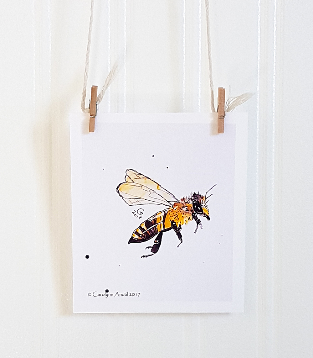 Mini Honeybee Watercolour Illustration Print Product