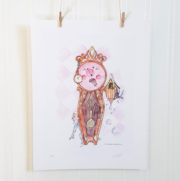 It's About time watercolour illustration hangs suspended by 2 miniature clothespins against a white background. An anthropomorphosized closk faces forward and yawns. A pocket watch hangs from it's frame to the left of the clock face and a cuckoo clock with a bird hanging out of it sits to the right. A young blonde girl in a blue nightdress peeks around the base of the clock on the left. Bubbles float on the right side and the background is pink and white motley.