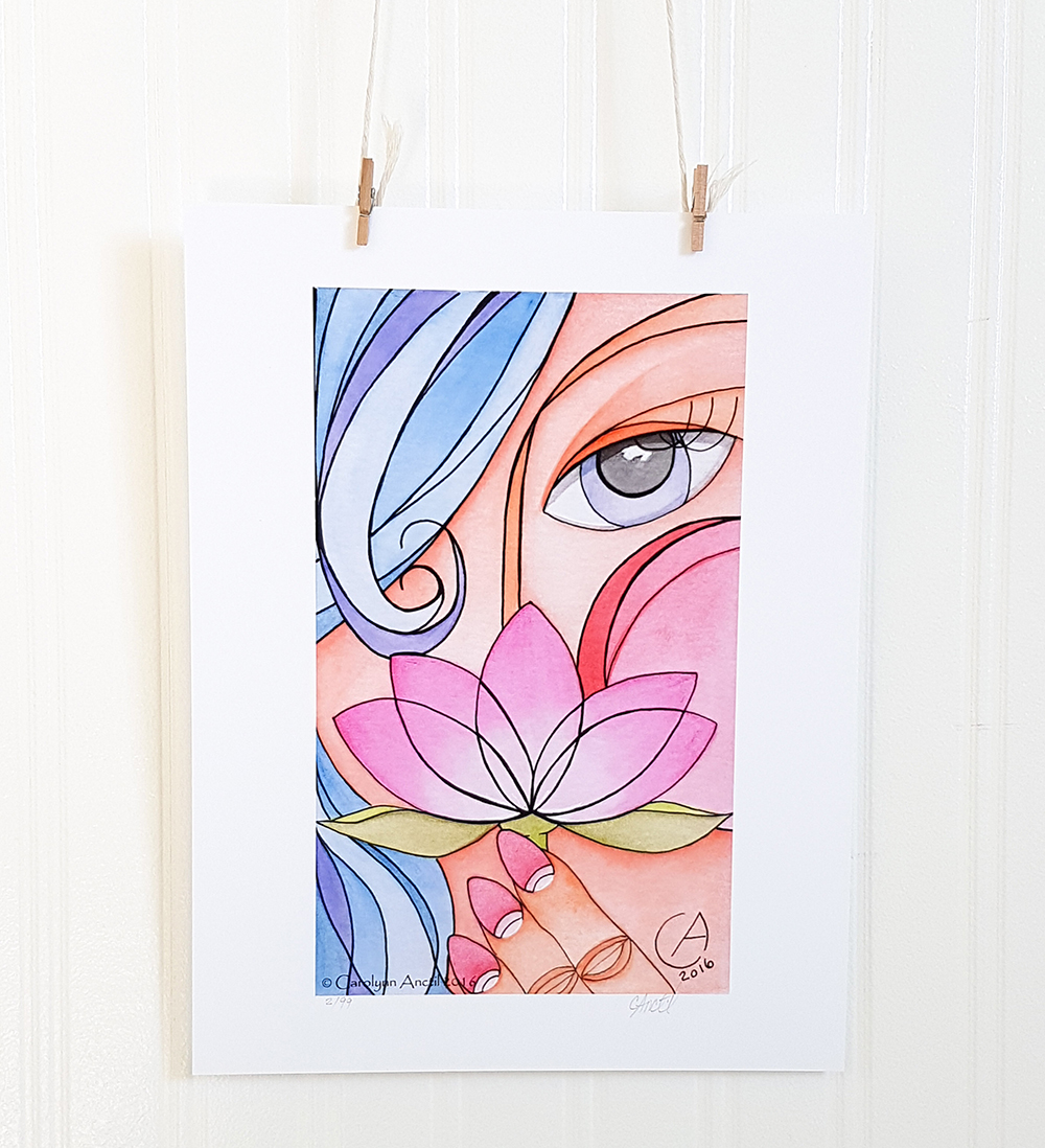 Lady With Lotus Graphic Art Wall Decor Product
