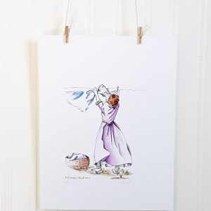 Laundry Day watercolour illustration hangs suspended by 2 miniature clothespins against a white background. Central figure faces away from the viewer and hangs clothes on a clothesline in the wind. A basket of laundry is at her feet to the left. She wears a purple dress and white running shoes.