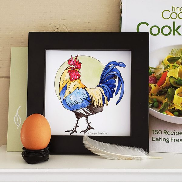 Rooster Portrait framed and pictured with egg & cookbook.