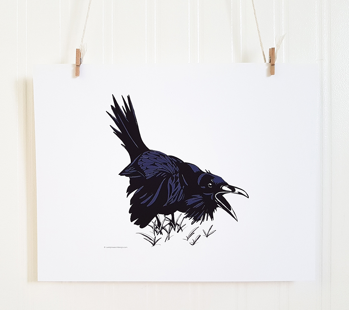 Rowdy Raven Illustration Art Print Product