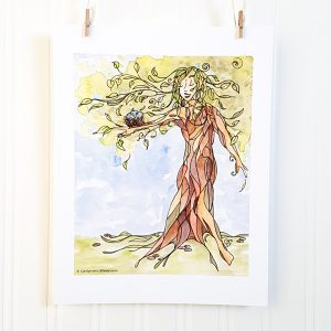Mother Nature watercolour illustration hangs suspended by 2 miniature clothespins against a white background. An anthropomorphized tree faces forward and bears a bird's nest and bird on the limb of its outstretched right branch. Its has a face with a benign expression, arms and root system that turn into feet.