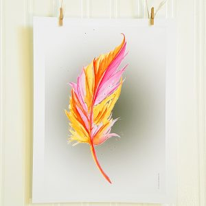 Neon Feather watercolour illustration is suspended by 2 miniature clothespins against a white background. A single feather is painted in bright shades of pink and orange. Illustration is shown in portrait position.