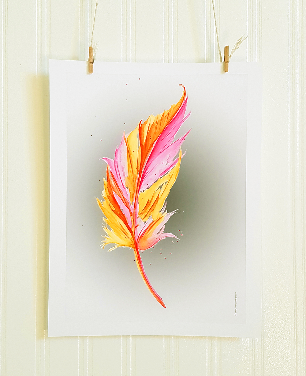 Neon Feather Contemporary Watercolour Room Decor Product