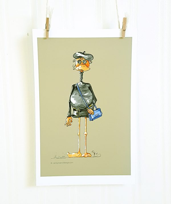 Groovy watercolour illustration from the Beatnik Bird set hangs suspended by 2 miniature clothespins against a white background. The cartoon character faces forward and has a beak. The female figure wears a black beret and dark sunglasses and a black turtleneck mini dress tied at the waist with a chain belt. She wears a blue purse across her body to the right and is set against a taupe background.