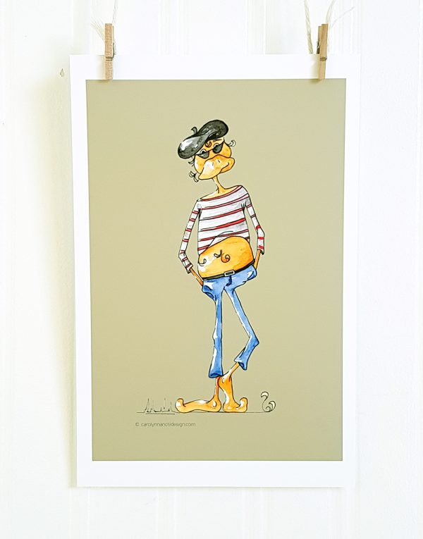 Too Cool watercolour illustration from Beatnik Bird set hangs suspended by 2 miniature clothespins against a white background. Cartoon character stands facing forward in relaxed position with hands in pockets. The male figure has a beak, wears a black beret and dark sunglasses. The figure wears a vertical striped shirt in red and white that rides up over its ample belly. It wears blue jeans and is set against a taupe background.