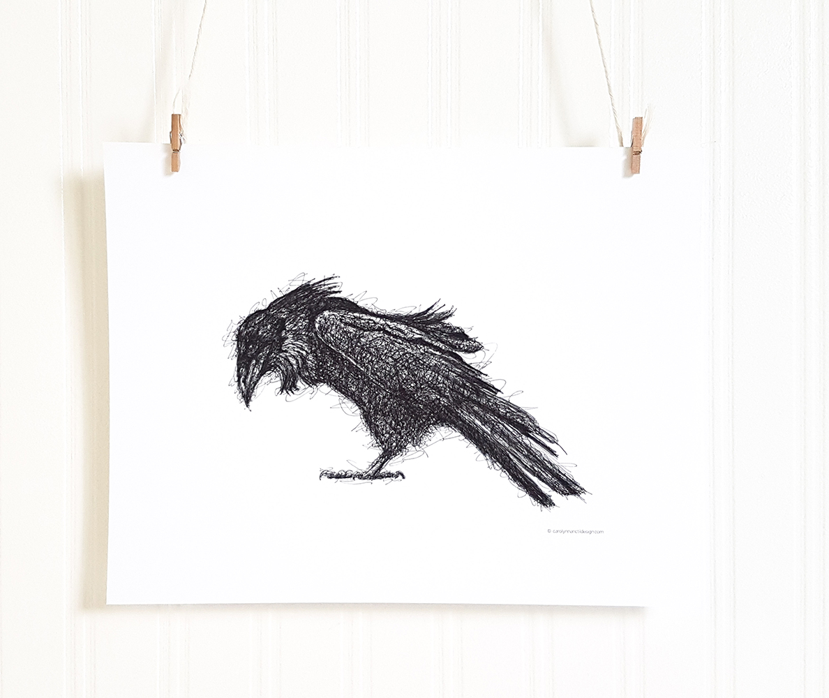 Rumpled Raven Wall Art Drawing Product