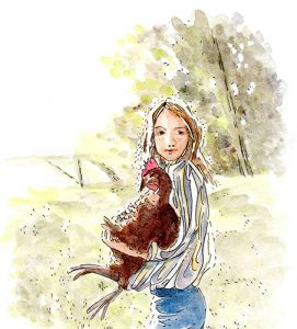Country Kid watercolour illustration. A young girl stands in the foreground in the country. She's wearing a long sleeved, striped shirt in blue, yellow & white and blue jeans. She faces left, with her head turned to face the viewer and holds a large brown chicken in her arms.