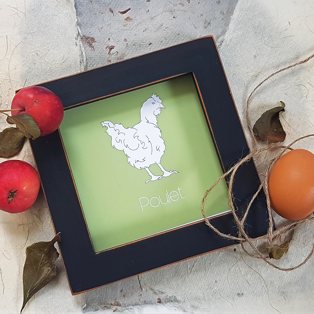 Chicken-Poulet Country Inspired Wall Art Product Lifestyle