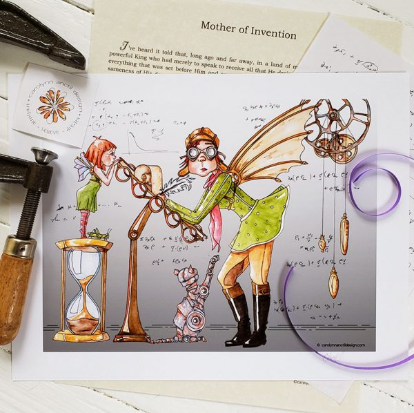 Photo of unframed Mother of Invention watercolour illustration. An antique vise tool is on the left of the frame and the Carolynn Anctil Design logo sits between the vise teeth. A parchment paper with the short story is behind the print, as is a sheet of paper with handwritten mathematical equations. A purple ribbon curls on the left of the frame.