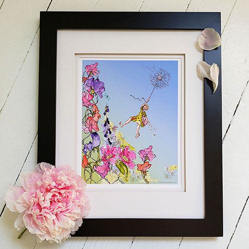 Framed Flower Girl print with peony flower against a white background.