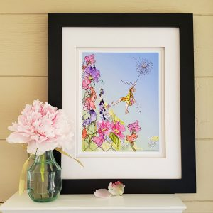 Framed Flower Girl print on a shelf with a pink peony in a vase to the left.