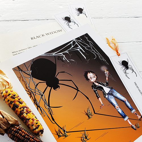 Black Widow print pictured with short story and bookmarks. Photographed against a white background with decorative corn on the left of the frame.