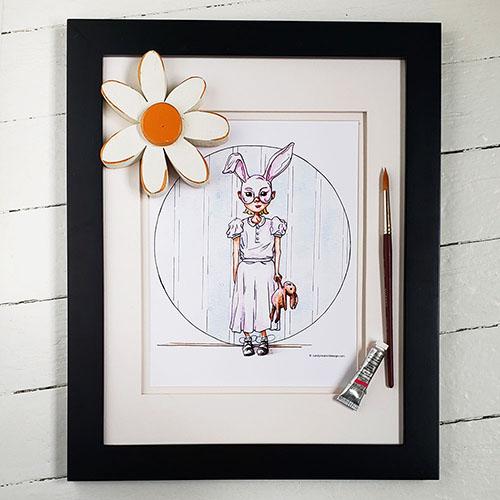 Rabbit Rabbit Print in black frame. Link to print.