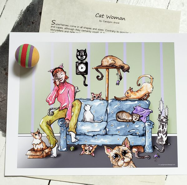 Cat Woman Print shown with short story & cat toy.