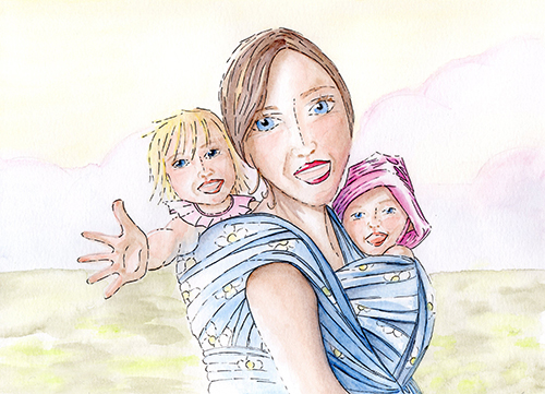 Illustration of a woman with 2 children wrapped papoose style.
