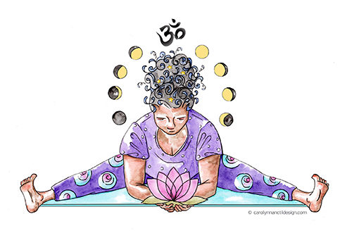Woman dressed in purple seated in yoga split with lotus flower in her hands, a halo of moon phases and an ohm symbol above her head.