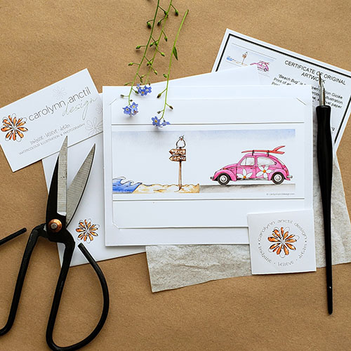 Beach Bug mini print shown with business card, sticker, Certificate of Authenticity, scissors and dip pen.